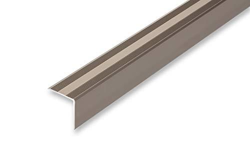 Treppenwinkel 30 x 32 x 1000 mm 6 Farben | selbstklebend | gebohrt | ungebohrt | Treppenkantenprofil | Kantenschutz | Kantenwinkel |(30 x 32 x 1000 mm (ungebohrt-selbstklebend), edelstahl-look)