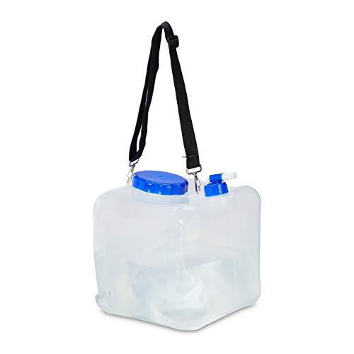 Relaxdays Faltkanister 2er Set, Wasserkanister Camping, Hahn, Weithals-Deckel & Tragegurt, 15 L, BPA-frei, transparent