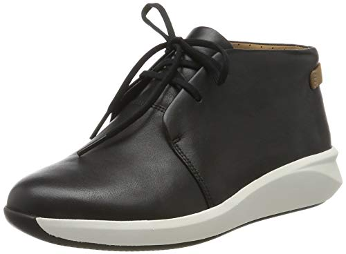 Clarks Un Rio Mid, Zapatillas Mujer, Negro (Black Leather Black Leather), 38 EU