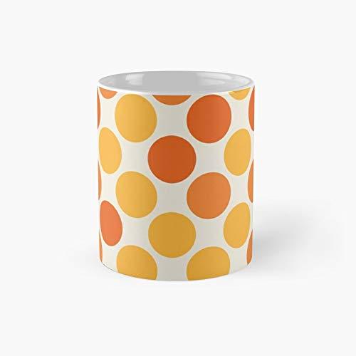 Taza clásica de lunares amarillo y naranja   El mejor regalo divertidas tazas de café 11 oz