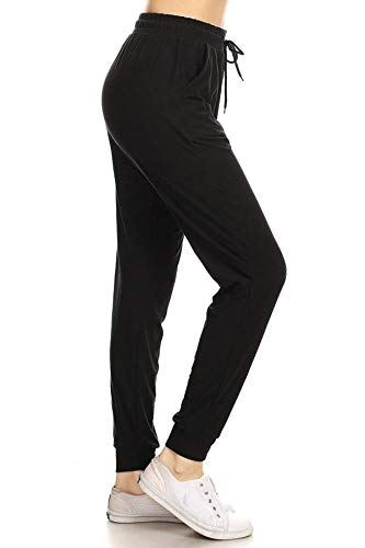 Leggings Depot JGA128-BLACK-M Solid Jogger Track Pants w/Pockets, Medium