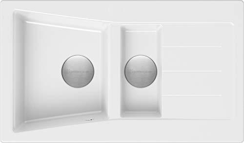 Spülbecken Weiß 88 x 52 cm, Granitspüle + Siphon Premium, Küchenspüle ab 60er Unterschrank, Einbauspüle von Primagran