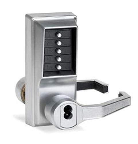 Kaba LR1021B-26D-41 Cylindrical Push Button Lock Lever Bic Ko Rh Us26D, Satin Chrome