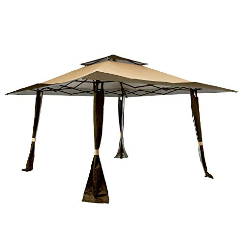 KITADIN 13' x 13' Outdoor Pop-Up Gazebo with Corner Curtains Steel Frame Pavilion Shelter Canopy Tent for Patio, Garden, Backyard (Brown)