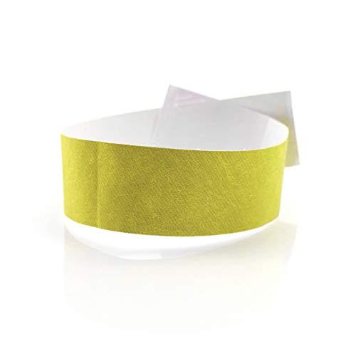 Fun Fan Line - 1.000 eenheden Tyvek 25 mm papieren identificatie polsbanden. Genummerde controlearmbanden met zelfklevende sluiting. Niet overdraagbaar en waterbestendig. Geel