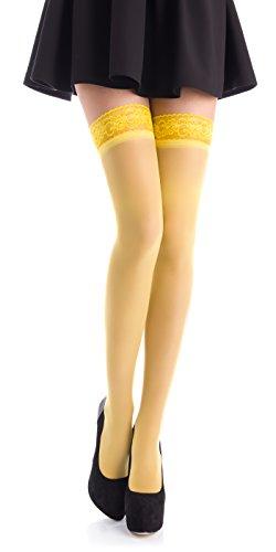 Romartex Romartex halterlose 20 DEN Elasthan Strümpfe mit schmalem Spitzenbund (4-6 cm), S, gelb