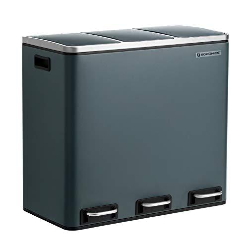 SONGMICS Basurero Reciclaje, Cubo de Basura para Cocina con 3 cubetas, 3 x 18L, Tapa de Mecanismo, con Pedales, Acero, Cubos Interiores de Plástico y Asas de Transporte, Gris Ahumado LTB54GS