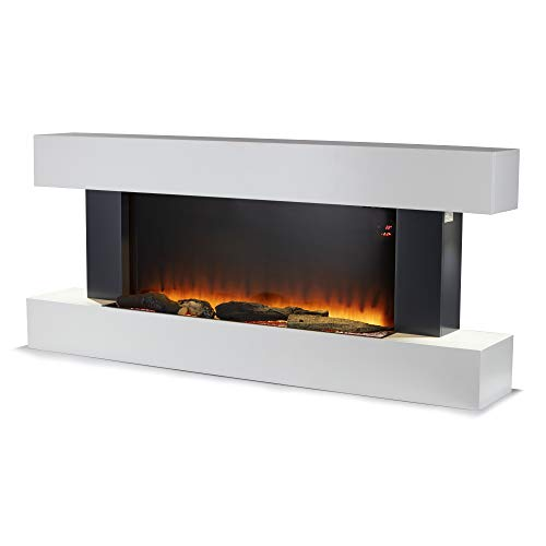 Warmlite Hingham Wall Mounted Electric Fireplace suite, Remote Control Operated with 2 Heat Settings, LED Flame Effect, White