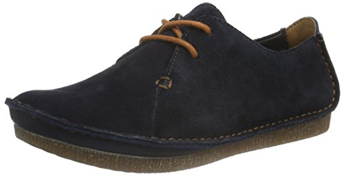 Clarks Damen Janey Mae Brogue Schnürhalbschuhe, Blau (Navy Suede), 37 EU (4 UK)