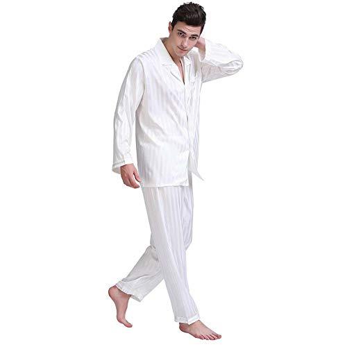 ZWLXY Los Hombres De Seda De La Mancha Conjunto De Pijama De Los Hombres Pijama De Seda Ropa De Noche Atractiva De Los Hombres del Estilo Moderno Suave Acogedor Satén Camisón,Blanco,M