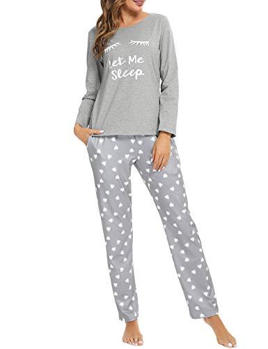 Akalnny Pijamas Mujer Invierno Algodón Mangas Largas Cómodo Suave Conjunto de Casa Dormir Pantalón y Camiseta Pijamas Completa