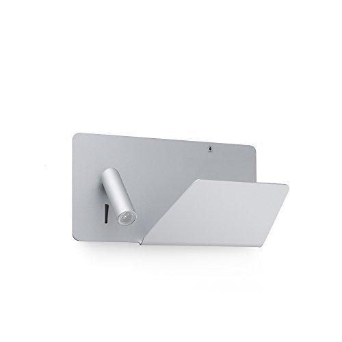 Faro Barcelona 62123 SUAU USB Lampe applique grise avec lecteur LED droite