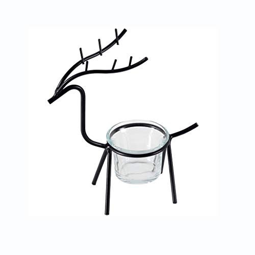DEF Wrought Iron Fawn Candle Holder Aromatherapy Candle Holders Cup Diameter 2.3in/6cm, Home Decorations for Living Room Bedroom (Color : M-2 Black)