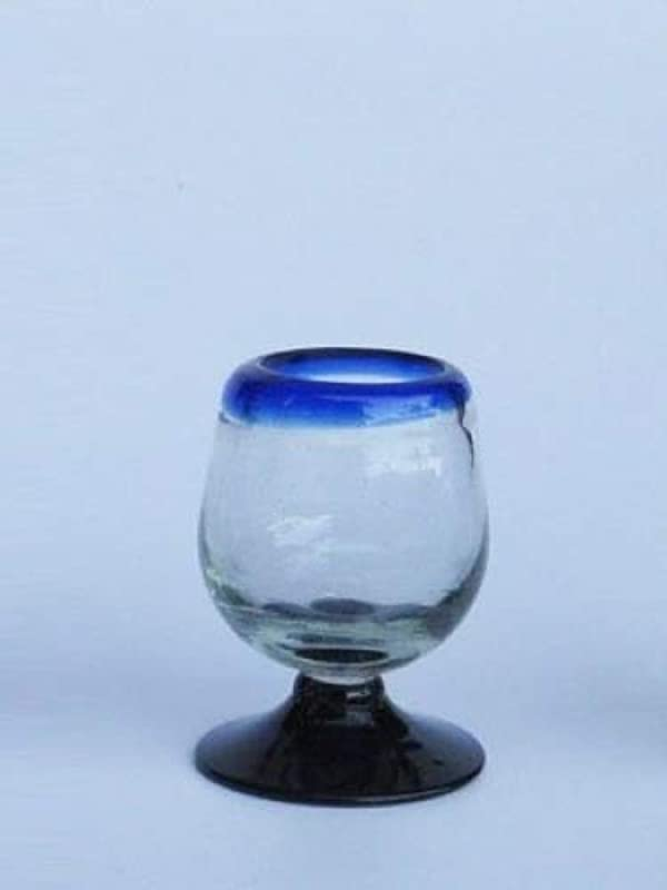Mexican Blown Glass Tequila Sippers Cobalt Blue Rim Set Of 6