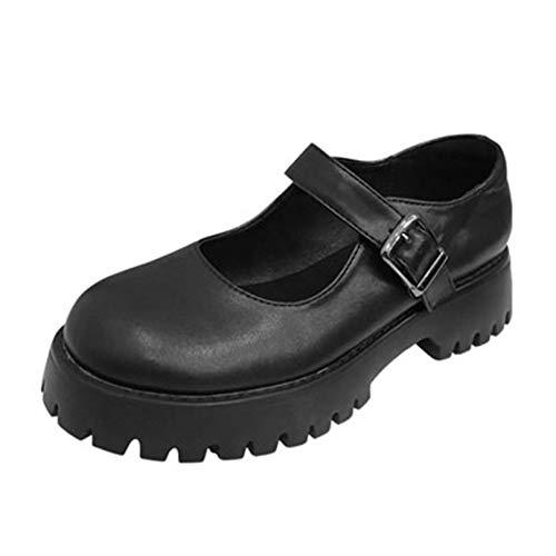 Zapatos de Plataforma para Mujer, Moda, Simple, de tacón bajo, tacón bajo, Punta Redonda, Hebilla, Correa, usable, Negro, Zapatos Casuales para Mujer