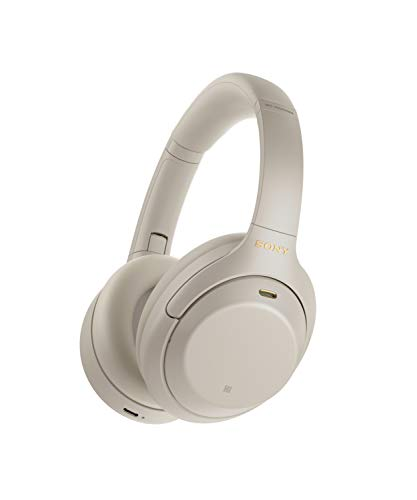 Sony WH-1000XM4 Wireless Industry Leading Noise Canceling Overhead Headphones, Silver, One Size (WH1000XM4/S)