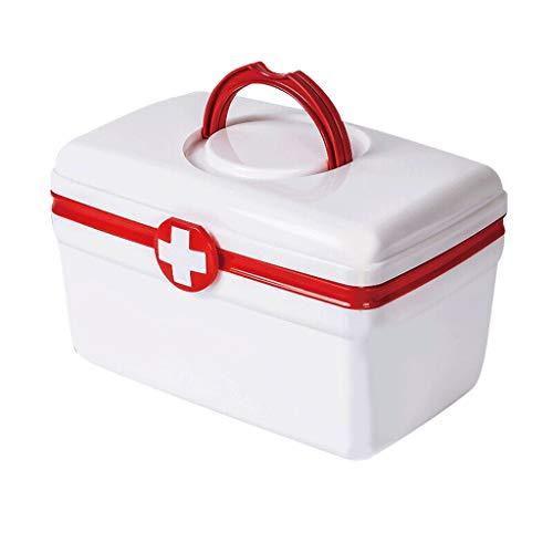 Caja Medicamentos Caja de la medicina, la medicina caja de almacenamiento, la familia Caja de almacenamiento de herramientas de emergencia, de doble capa, de gran capacidad, Maleta, 10.7 pulgadas Alma