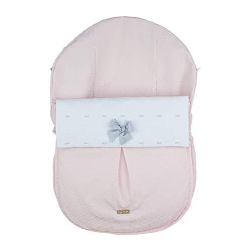 Funda + Saco Universal para Silla de coche GRUPO 0 Rosy Fuentes - Saco para Silla de Bebé Grupo 0 - Equipado para ser Ajustado perfectamente - Elaborado en Piqué jacquard - Color rosa