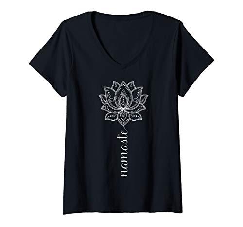 Damen Namaste Mandala Lotus Meditation Workout Yoga Lover Gift T-Shirt mit V-Ausschnitt