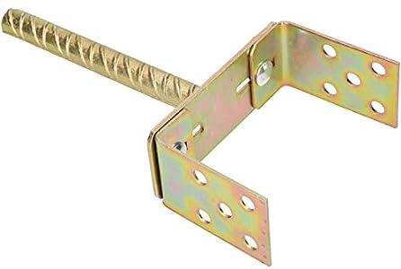 KOTARBAU® Soporte de Poste en Forma de U 0 - 160 mm Manguito de Montaje Ajustable Vara 200 mm para Hormigonar Galvanizado Dorado