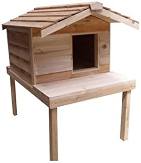 CozyCatFurniture Large Waterproof Outdoor Cat House with Platform and Extended Roof, Natural Cedar Wood, Thermal-Ply Insulation, Good for Winter & Summer
