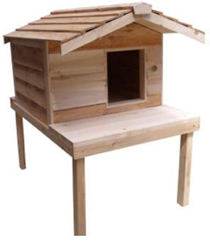 CozyCatFurniture Large Waterproof Outdoor Cat House with Platform and Extended Roof, Natural Cedar...