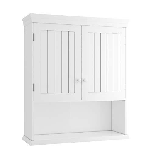COSTWAY 2-türiger Hängeschrank, Badschrank mit höhenverstellbarem Fach, Badezimmerschrank weiß, Wandschrank, Badmöbel, Holzschrank