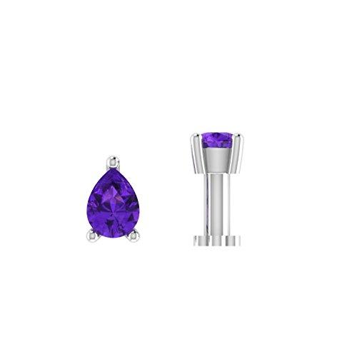 Ani's 1/5 quilates forma de pera D/VVS1 amatista diamante solitario nariz hueso tornillo piercing pin 925 Sterling para mujeres