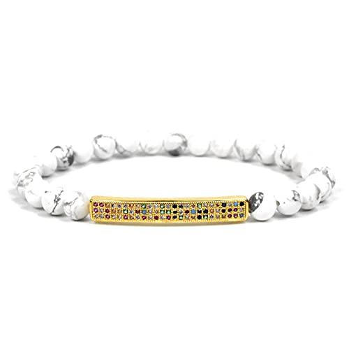 N/A Herren- und Damenschmuck 6mm natürliche weiße Kiefer Farbe Zirkonium Lange Perlen Armband Naturstein Armband Hochzeitstag Muttertag Weihnachten Geburtstagsgeschenk