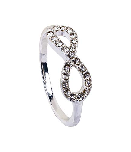 SIX 1 pc. of Filigree Silver Ring with Sparkling Rhinestones in The Shape of The Sign of Infinity (793-035)