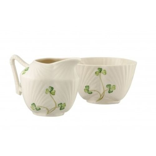 Belleek Pottery Harp Shamrock Sugar and Cream, Green/White