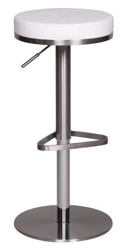 Wohnling Durable M7 Barhocker, mit silberfarbenem Edelstahlgestell, Design Hocker mit Kunstlederbezug, Moderner Barstuhl mit Fußablage, Tresenhocker höhenverstellbar und drehbar, weiß