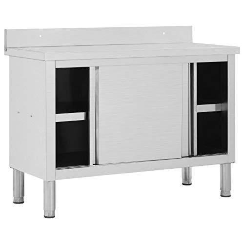 GOTOTOP Mesa de Trabajo de Acero Inoxidable 120 x 50 x 95 cm, Mesa Auxiliar de Operaciones con Puertas correderas para Cocina, Restaurante