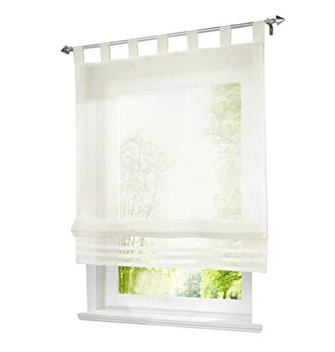BAILEY JO 1er-Pack Raffrollo mit Schlaufen Gardinen Voile Transparent Vorhang (BxH 60x155cm, beige)