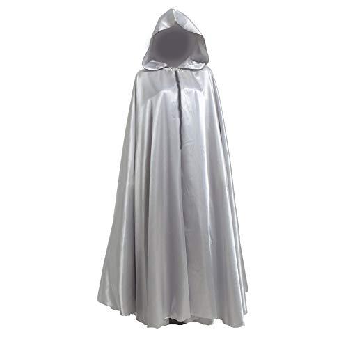 GRACEART Capa con Capucha Largo Disfraz de Halloween para Disfraz Muerte Adulto (Plata)