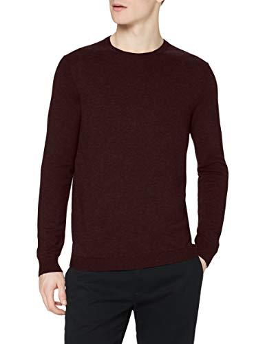 Marca Amazon - find. Jersey de Punto con Cuello Redondo para Hombre, Rojo (Burgundy Marl Burgundy Marl), M, Label: M