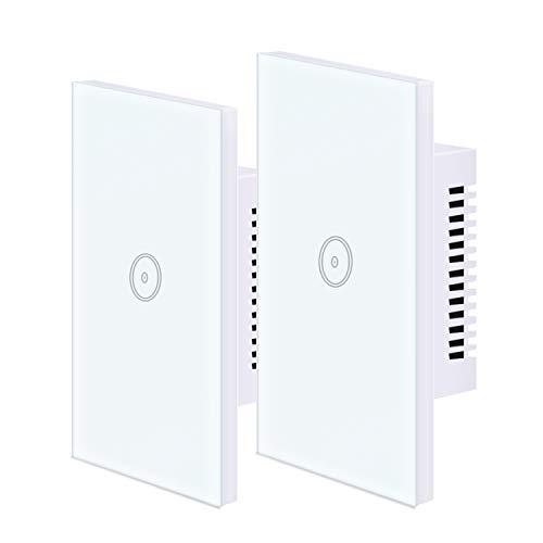 UseeLink Interruttore Della Luce Intelligente WiFi, con Touch Screen in Vetro Temperato, 1 Gang, Funziona con Alexa Google Home, Telecomando, Timer, Conduttore Neutro Richiesto (2 PCS)