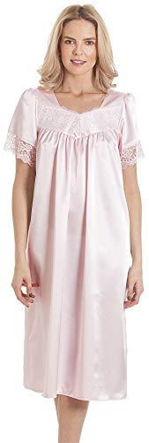 Armona Trading LTD Damen Nachthemd mit kurzen Ärmeln, Spitze, Satin, Größe 38-56 Gr. 50/52 DE, rose