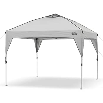 Core 10  x 10  Instant Shelter Pop-Up Canopy Tent with Wheeled Carry Bag Grey