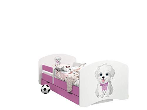 Happy Babies -LIT D'ENFANT ROSE DOUBLE FACE AVEC TIROIR Design Moderne Avec Bords Sécurisés et Matelas en Mousse Antichute 7 cm (19. Chien avec arc, 190x90)