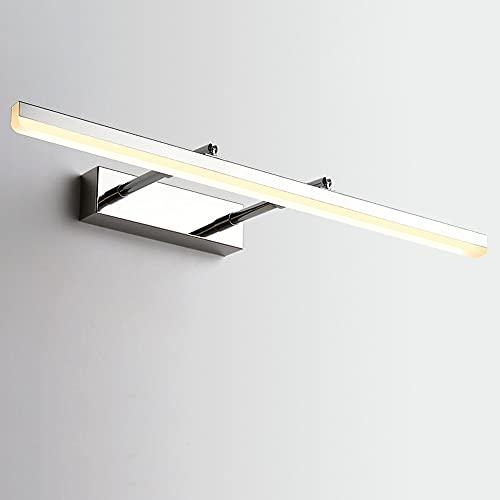 80CM Moderno LED Luz De Espejo Iluminación Cuarto De Baño Applique Lampara De Pared Tocador Vitrina Iluminación Interior IP44 Impermeable Anti Niebla 18W Flujo Luminoso 1260LM,Cromo,3000k