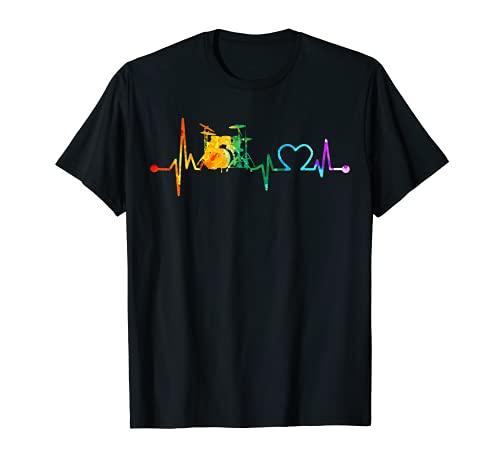 Batería Retro Vintage Drums Heartbeat Watercolor Drumming Camiseta