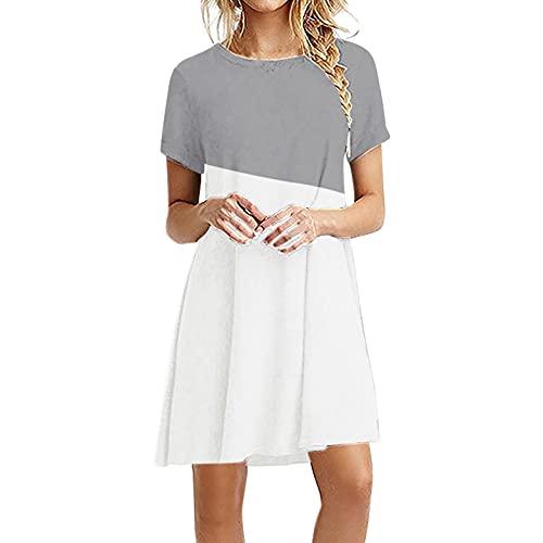 TYTUOO Vestidos de verano sueltos de manga corta con cuello en O casual, vestido de camiseta, mini vestidos con estampado degradado para mujer, talla grande