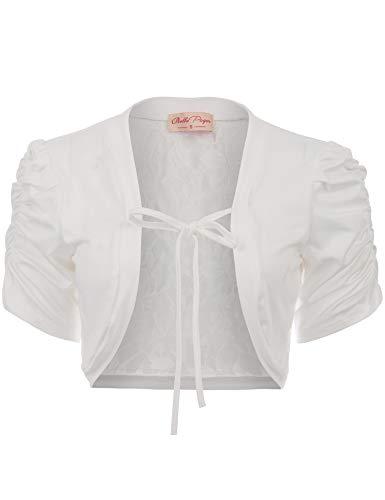 Belle Poque Women's Lace Shrug Short Sleeve Cropped Bolero Top Open Front Cardigan Jacket (White,S)