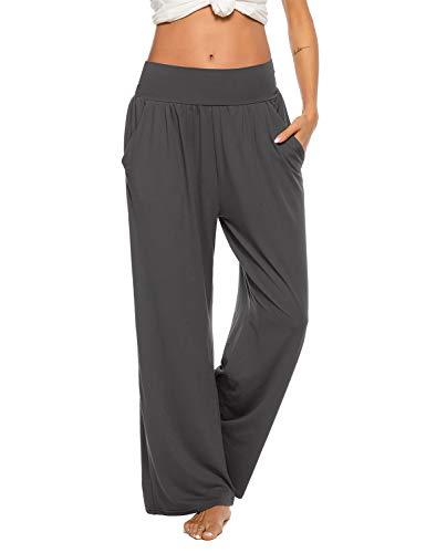 ZJCT Womens Yoga Pants with Pockets Sweatpants Comfy Loose Lounge Workout Pajama Jogger Pants Dark Gray L