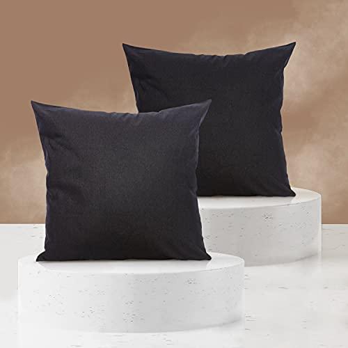 Viste tu hogar Pack 2 Fundas de Cojin 45x45 cm, Algodón y Poliéster, para Decoración de Hogar en Color Negro Liso.