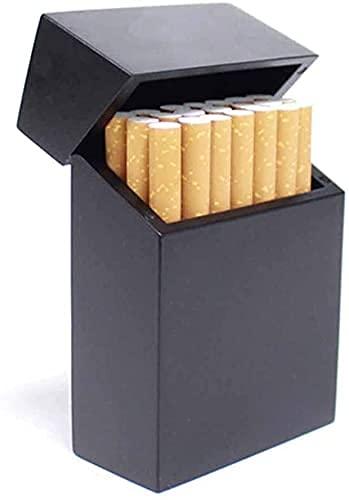 BAIHUO Caja De Cigarrillos, Caja Fuerte del Cigarrillo del Cierre del Cierre del Flip Superior De Madera, Estuche De Cigarrillo Portátil, Soporte De Caja De Tabaco Hecha A Mano Vintage (Color: Negro)