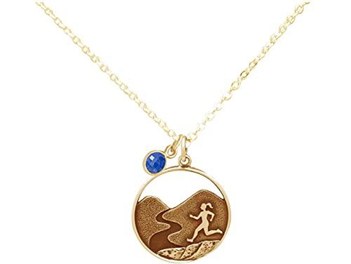 Gemshine Alpin Berg Trail, Cross Running Laufen Halskette mit blauem SAPHIR in 925 Silber, hochwertig vergoldet oder rose. Sportschmuck - Made in Madrid, Spain, Metall Farbe:Silber vergoldet
