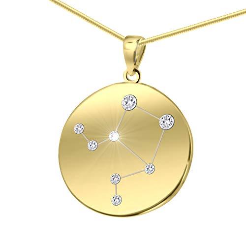 LillyMarie Damen Massive Silberkette Vergoldet Silber Gold Plattiert Swarovski Elements Sternzeichen-Anhänger Waage Längen-verstellbar Geschenkverpackung Geschenk für Frauen
