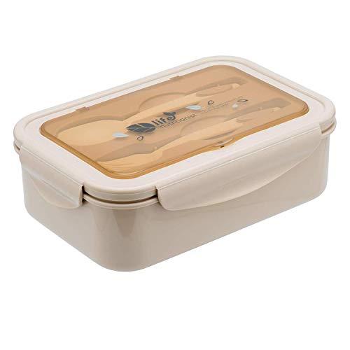 MEIXI Fiambrera Compartimentos, Fiambrera Infantil, Caja de Bento con 3 Compartimentos y Cubiertos, Fiambreras Caja de Alimentos Ideal para Almuerzo y Bocadillos para Niños y Adultos(Caqui)